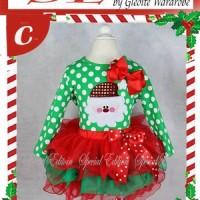 setelan baju natal  anak perempuan ( 2pc SExmas C~