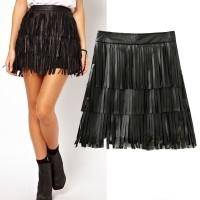 Leather Flare Fringe Skirt Rok Kulit Hitam IMport Murah
