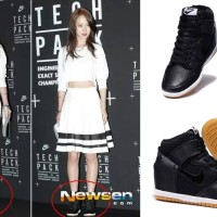 NIKE DUNK SKY HI premium sneaker sepatu wedges high black hitam korea