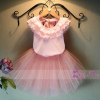 Jual Korea Pink Set Layered Pink Top Tutu Skirt Murah
