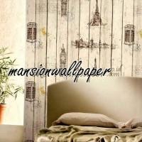 Wallpaper Dinding Kayu Paris London (Roll Besar)