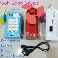 Lampu Emergency + Senter + Kipas + Power Bank 5400