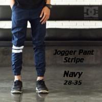 Celana Jogger Pants Strip Navy | Biru Dongker | Bestseller