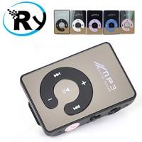 Logo MP3 Player TF Card dengan Klip Kecil Warna Perak / Hitam