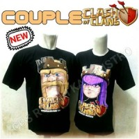 Kaos T-Shirt COC Clash of Clans Couple Barbarian King and Archer Queen