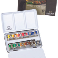 REMBRANDT EXTRA FINE WATER COLOUR BOX 12 PANS & SABLE BRUSH