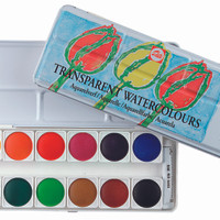 TALENS TRANSPARENT WATER COLOURS 12 SET