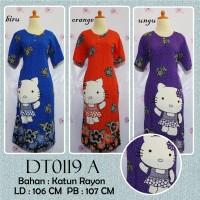 DT0119 A Daster Batik Lengan Pendek Gambar Hello Kitty, Katun Rayon