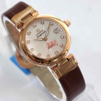 Omega Ladymatic Rosegold White-Dial Brown Leather