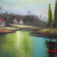 harga Lukisan Pemandangan Rumah Desa Tokopedia.com
