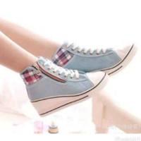 harga Sepatu Sneaker Wanita Wedges High Heels Boots Murah Casual Psd07 Abu Tokopedia.com