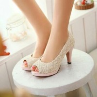 Sepatu Sandal High Heels Wanita Brukat Cream Toko Online Harga Murah