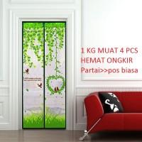 Tirai pintu magnet motif love bird - hijau - langsung pasang