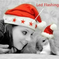 Topi santa merah lampu led nyala anak dewasa flanel sinterklas