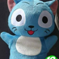 Boneka Fairy tail Happy the blue cat hand puppet Plush doll
