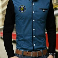 [Inter Milan prussianblue black AK] pakaian pria kemeja slim fit