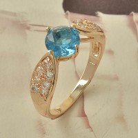 Cincin Lab Blue Aquamarine 9K Rose Gold Filled Ring