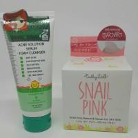 1 set CATHY DOLL SNAIL PINK + ACNE SOLUTION SERUM FOAM