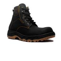 Cut Engineer Safety Boots Lace-Up Outdoor Leather - Hitam
