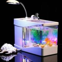 USB Desktop Aquarium     Mini Fish Tank with Running Water & LED Lamp