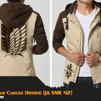 JAKET ANIME ATTACK ON TITAN BROWN CANVAS HOODIE