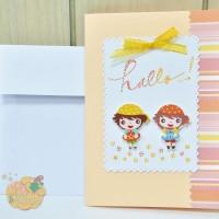 "Greeting Cards/Kartu Ucapan - Two Little Girls ""Hallo..!"""