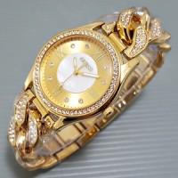 Jam Tangan GUESS rantai kepang warna emas angka rmawi