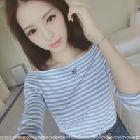 Baju Sabrina / Low Shoulder / Baju Stripe Biru Putih