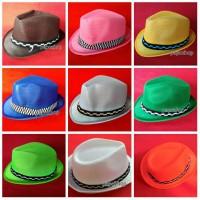 topi fedora anak jerami Nylon Polyester polos warna warni