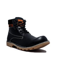 Cut Engineer Safety Boots Iron Prospector Leather - Hitam