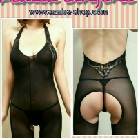 Jual bodystocking-halter neck black Murah