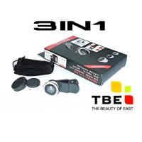 Fish Eye Camera Phone lensa Kamera handphone ponsel 3 in 1 jepit TBE