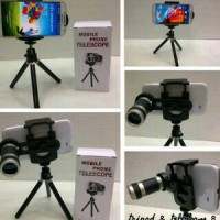 Jual LENSA TELE ZOOM 8X + MINI TRIPOD + HOLDER / PHONE TELESCOPE Murah