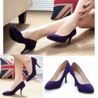 harga 70183 Purple Heel Beludru 8.5cm Sepatu import wanita/high heels/batam Tokopedia.com