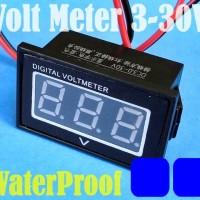 Digital MiNi WaterProof VoltMeter DC:3-30V Panel 0.4Inch LED BLUE