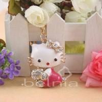 Hello Kitty Bag Charm KeyChain Swarovski Pink Aksesoris Gantungan Tas
