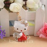 Hello Kitty Bag Charm Key Chain Swarovski Red Aksesoris Gantungan Tas