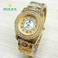 Jam Tangan Wanita Rolex Full Diamond Gold