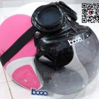 Jual Helm Retro SNI Pink Putih Kaca Bogo Import dan Kacamata Google Lokal Murah