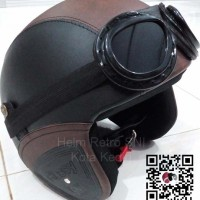 Helm Retro SNI Hitam Coklat Kacamata Google Lokal Asli 100%