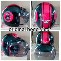 Helm Bogo Retro CM Angka 8 Hitam Merah