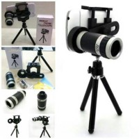Tele Zoom 8 Hp Universal + Tripod Mini Holder U / Lensa Telezoom
