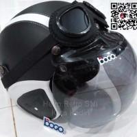 Jual Helm Retro SNI Hitam Garis Putih Kaca Bogo Import & Kacamata Google Murah