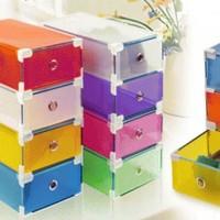 shoes box silver frame transparant kotak sepatu lipat susun praktis