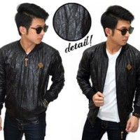 harga Jacket Varsity Wrinkled Leather Black Tokopedia.com
