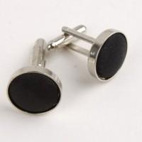 Round Black Fabric Cufflink