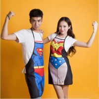 FUNNY APRON COUPLE - CELEMEK SUPERHERO