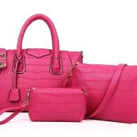 TAS TANGAN PINK ROSE 3IN1 WANITA IMPOR PU KULIT CANTIK HOBO PERGI MALL