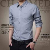 [Hem dave silver OT]pakaian pria kemeja slim fit warna abu