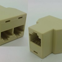 RJ45 Female to 2 RJ45 Female Socket Adapter Converter 8 pin